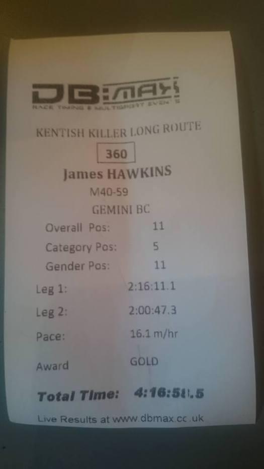 Kentish Killer official time